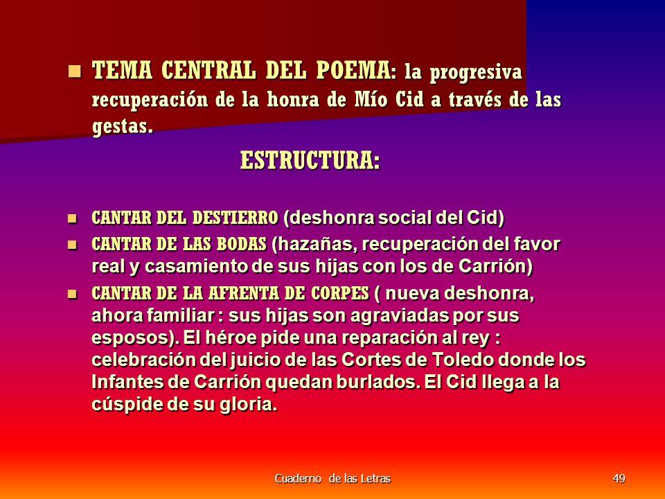 TEMA CENTRAL DEL POEMA: la progresiva recuperación de la honra de Mío Cid a través de las gestas.