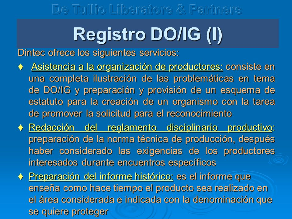 Registro DO/IG (I) De Tullio Liberatore & Partners