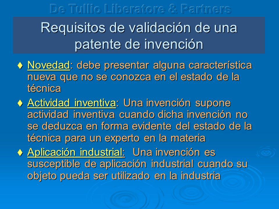 Requisitos de validación de una patente de invención