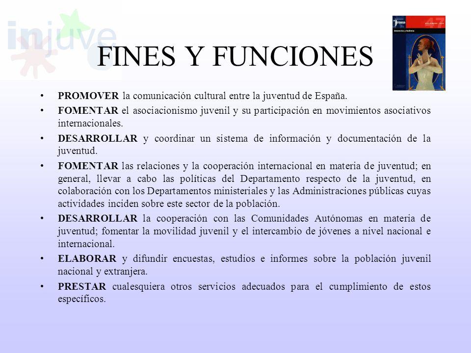 FINES Y FUNCIONES PROMOVER la comunicación cultural entre la juventud de España.