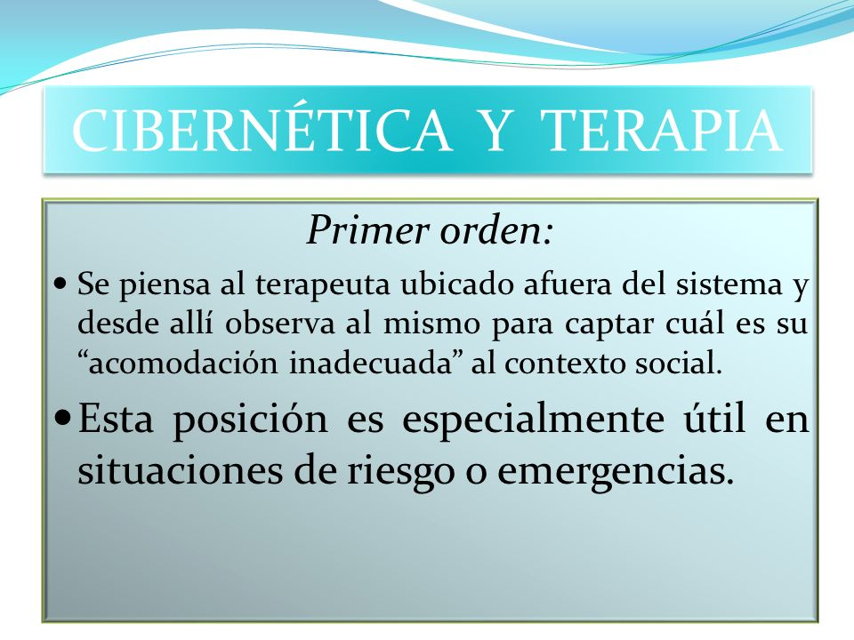 CIBERNÉTICA Y TERAPIA Primer orden: