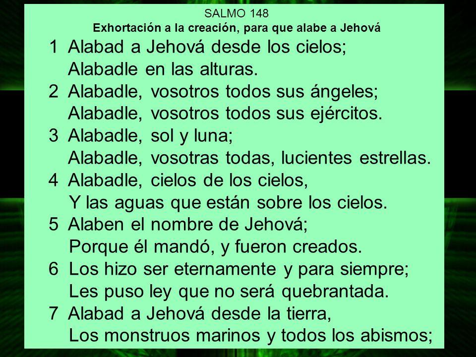 Exhortación a la creación, para que alabe a Jehová