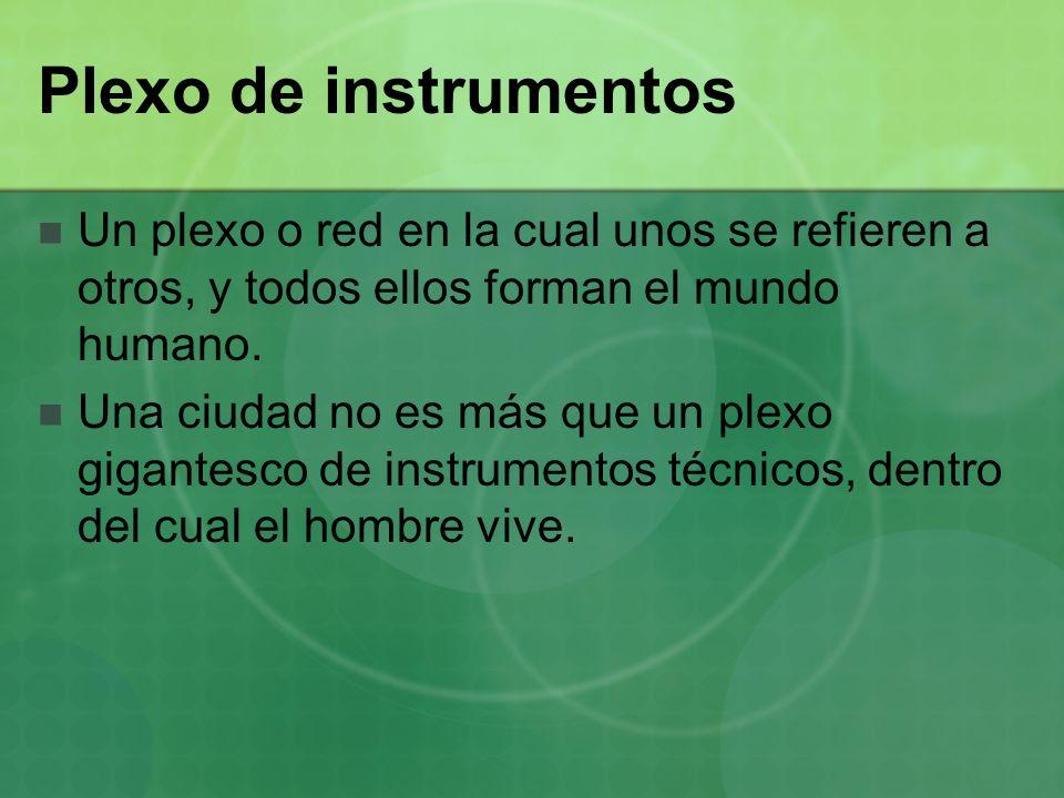Plexo de instrumentos Un plexo o red en la cual unos se refieren a otros, y todos ellos forman el mundo humano.