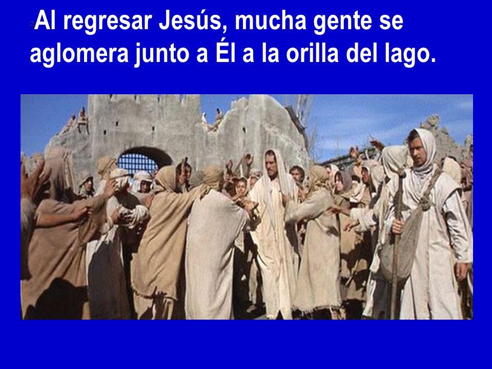 2Al regresar Jesús, mucha gente se aglomera junto a Él a la orilla del lago.