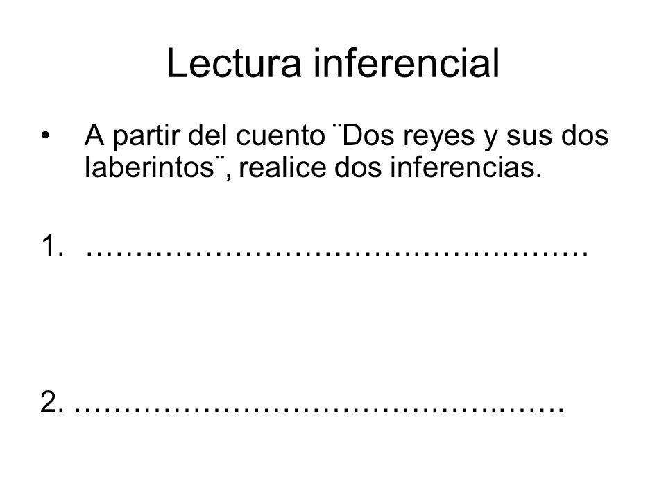 Lectura inferencial A partir del cuento ¨Dos reyes y sus dos laberintos¨, realice dos inferencias. ……………………………………………