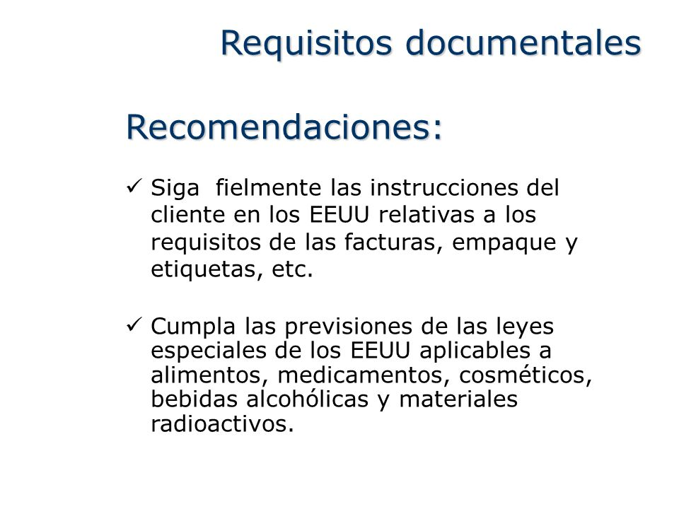 Requisitos documentales