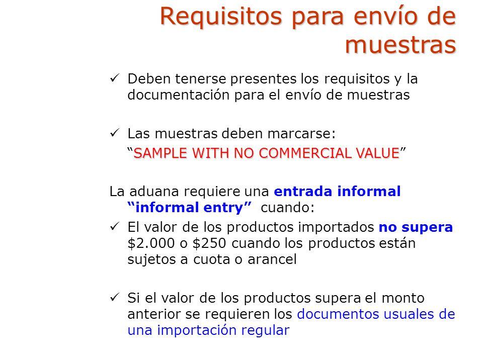 Requisitos para envío de muestras
