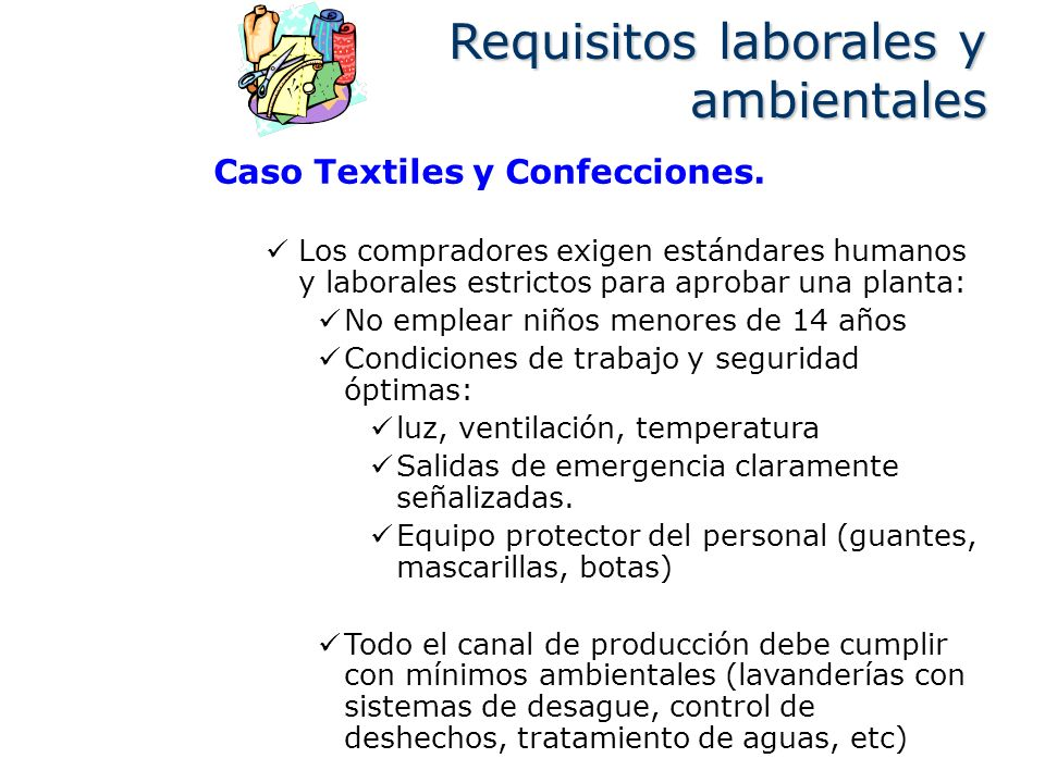 Requisitos laborales y ambientales