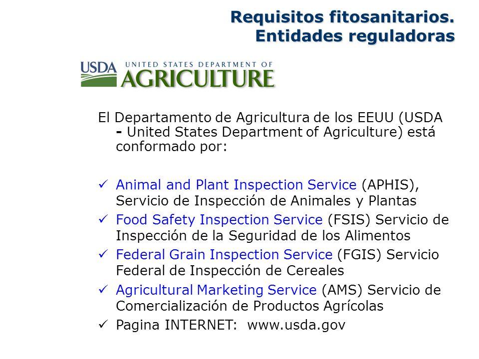Requisitos fitosanitarios. Entidades reguladoras