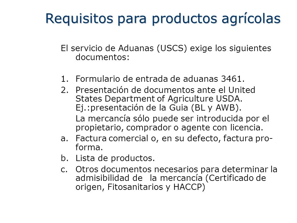 Requisitos para productos agrícolas