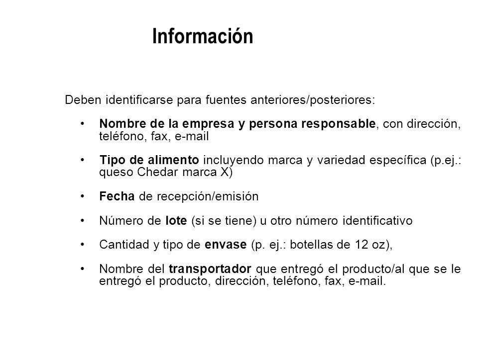 Información Deben identificarse para fuentes anteriores/posteriores: