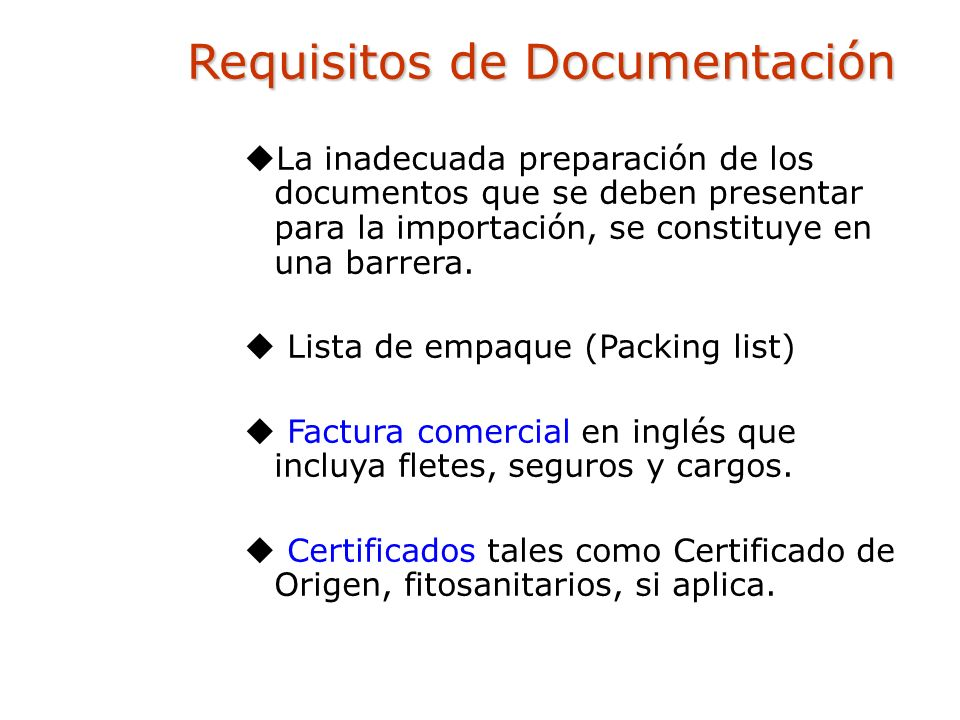 Requisitos de Documentación