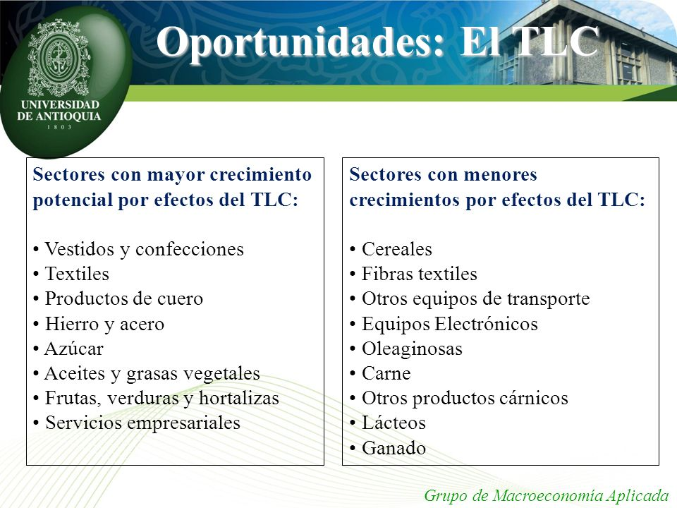 Oportunidades: El TLC Sectores con mayor crecimiento potencial por efectos del TLC: • Vestidos y confecciones.