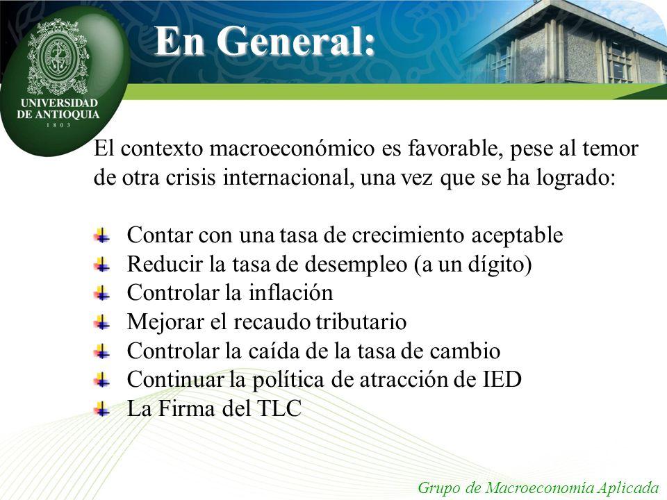 En General: El contexto macroeconómico es favorable, pese al temor de otra crisis internacional, una vez que se ha logrado: