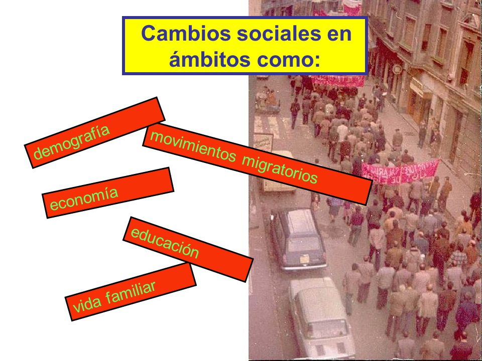 Cambios sociales en ámbitos como: