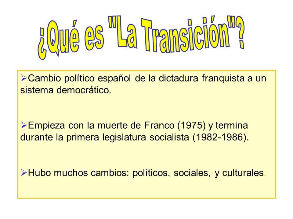¿Qué es La Transición Cambio político español de la dictadura franquista a un sistema democrático.