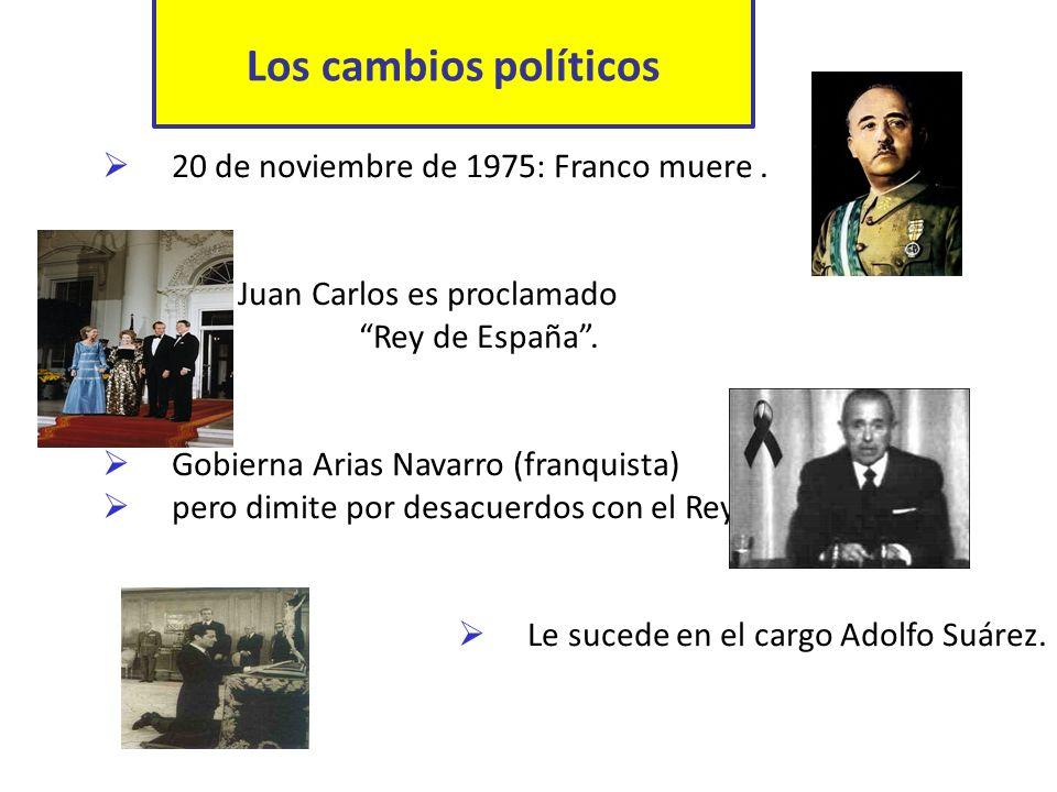 Los cambios políticos 20 de noviembre de 1975: Franco muere .