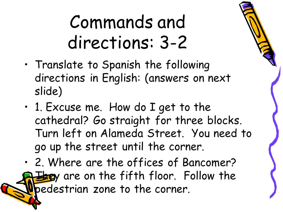 Commands and directions: 3-2