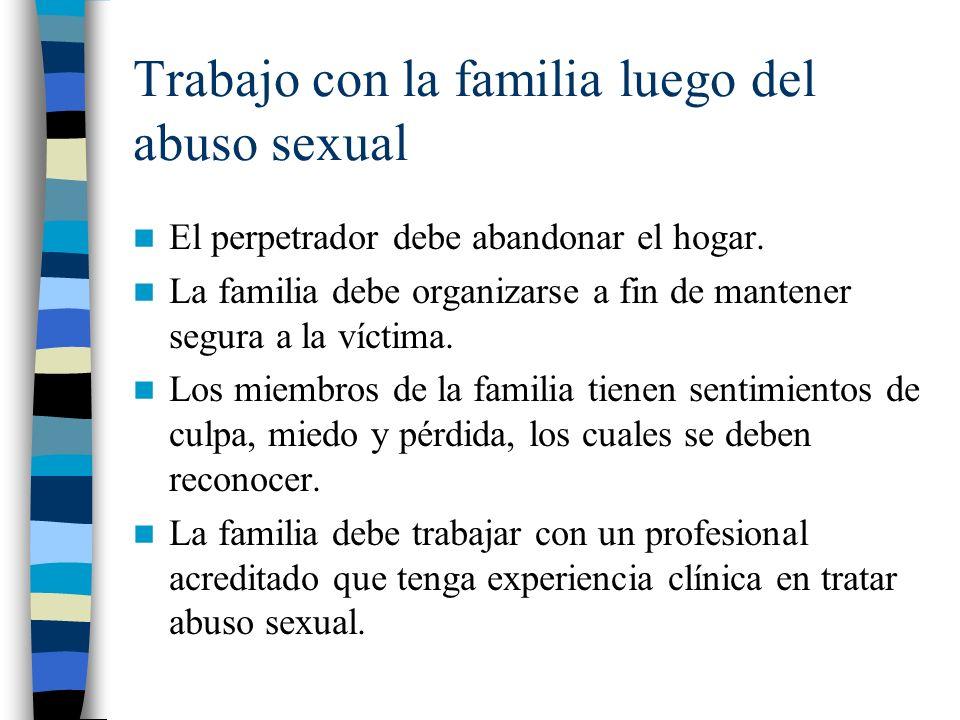 Trabajo con la familia luego del abuso sexual