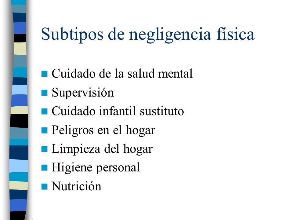 Subtipos de negligencia física