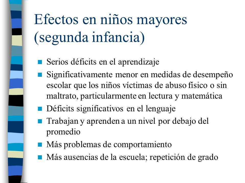 Efectos en niños mayores (segunda infancia)
