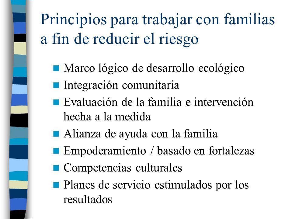 Principios para trabajar con familias a fin de reducir el riesgo