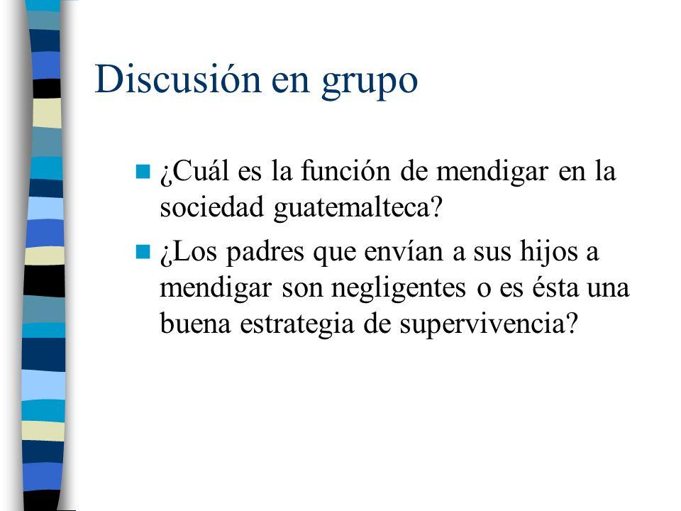 Discusión en grupo ¿Cuál es la función de mendigar en la sociedad guatemalteca