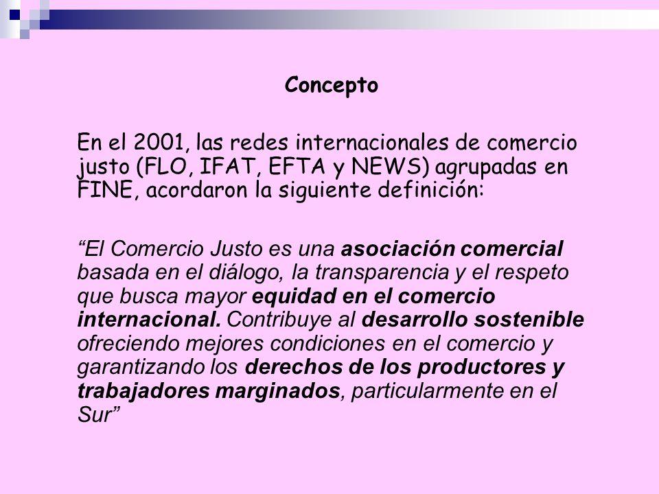 Concepto En el 2001, las redes internacionales de comercio justo (FLO, IFAT, EFTA y NEWS) agrupadas en FINE, acordaron la siguiente definición: