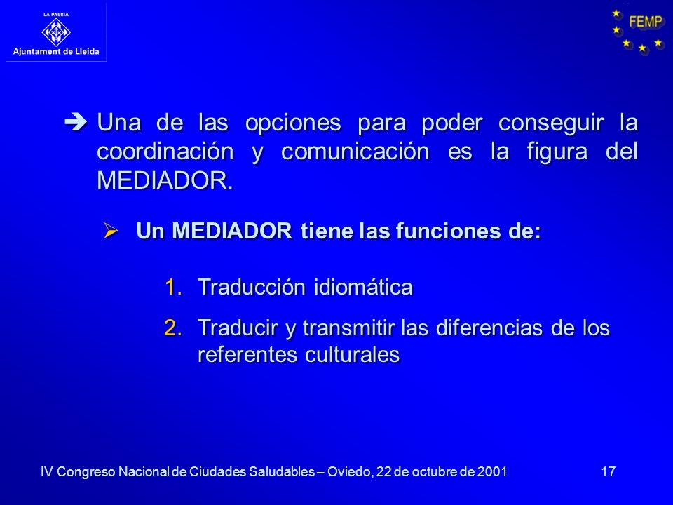 Una de las opciones para poder conseguir la coordinación y comunicación es la figura del MEDIADOR.