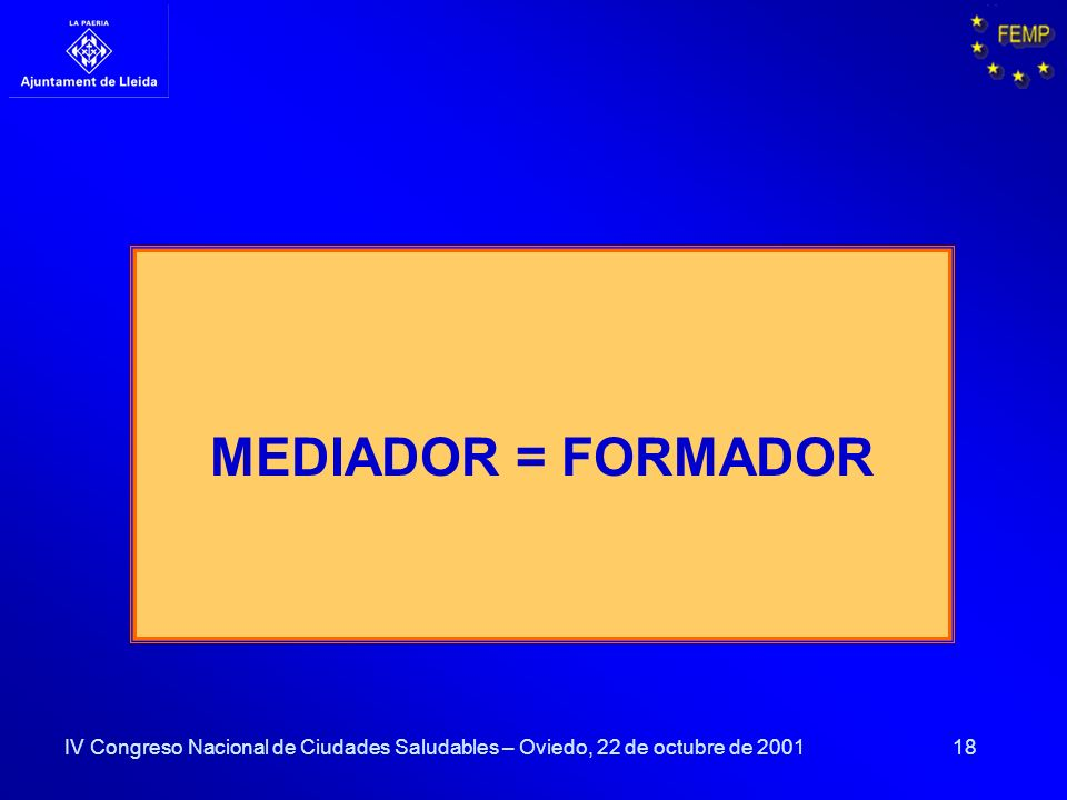 MEDIADOR = FORMADOR IV Congreso Nacional de Ciudades Saludables – Oviedo, 22 de octubre de 2001