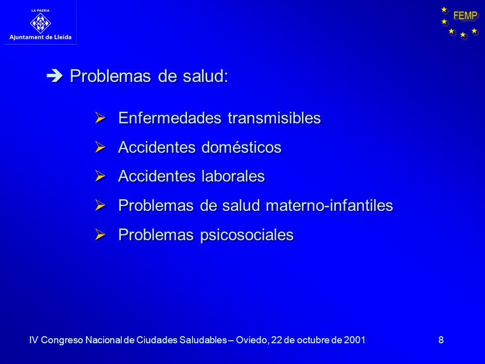 Problemas de salud: Enfermedades transmisibles Accidentes domésticos