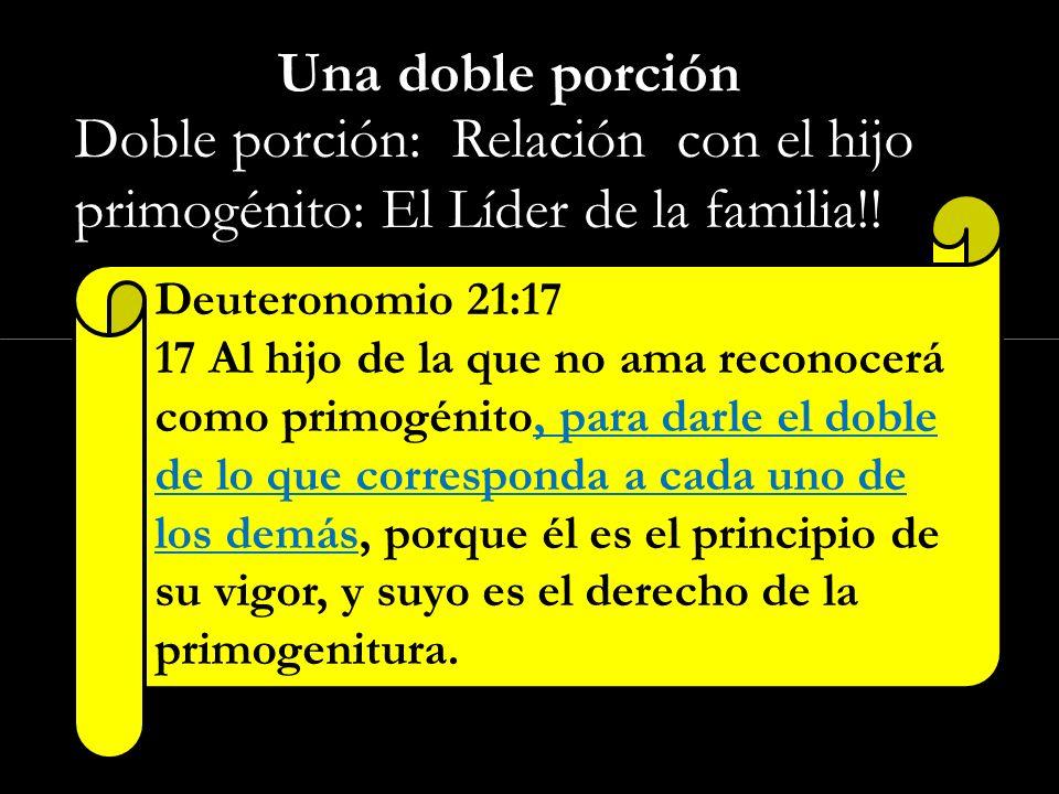Una doble porción Doble porción: Relación con el hijo primogénito: El Líder de la familia!! Deuteronomio 21:17.