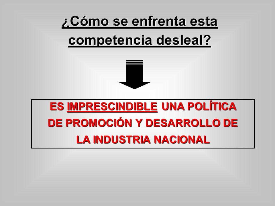 ES IMPRESCINDIBLE UNA POLÍTICA DE PROMOCIÓN Y DESARROLLO DE