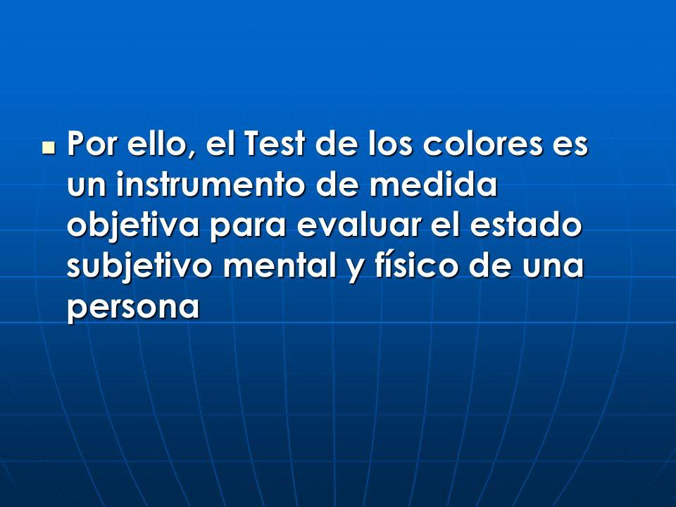 Por ello, el Test de los colores es un instrumento de medida objetiva para evaluar el estado subjetivo mental y físico de una persona