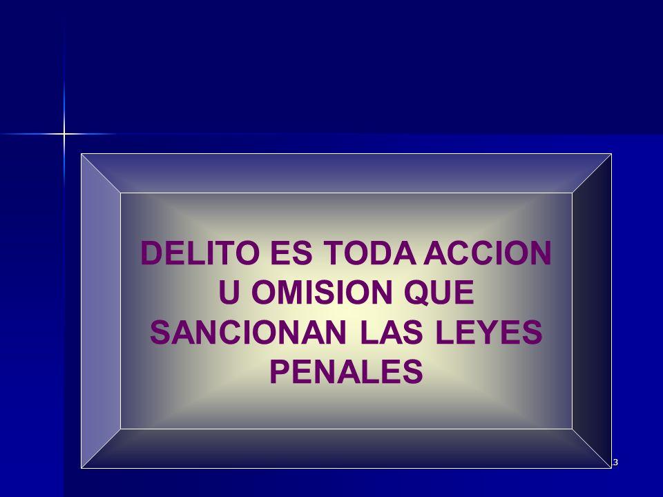 DELITO ES TODA ACCION U OMISION QUE SANCIONAN LAS LEYES PENALES