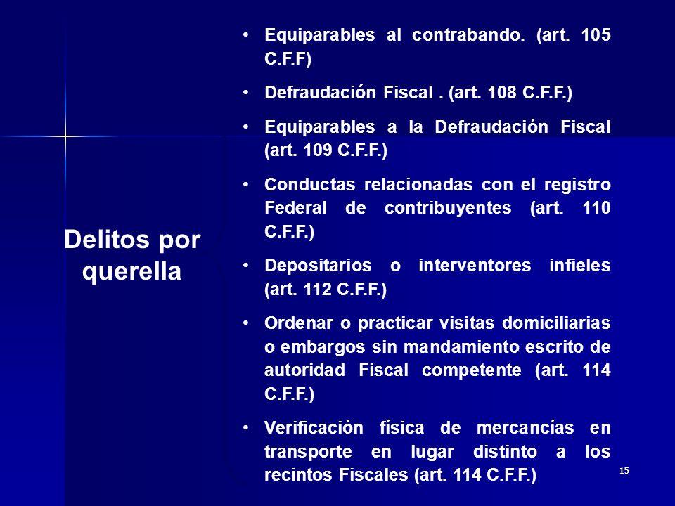 Delitos por querella Equiparables al contrabando. (art. 105 C.F.F)