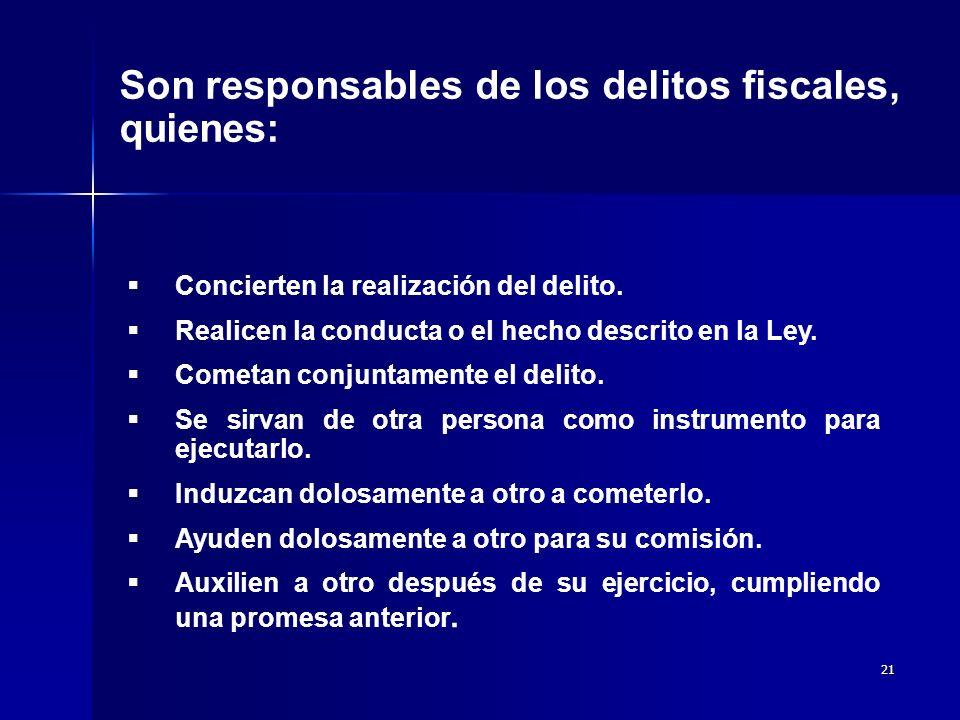 Son responsables de los delitos fiscales, quienes: