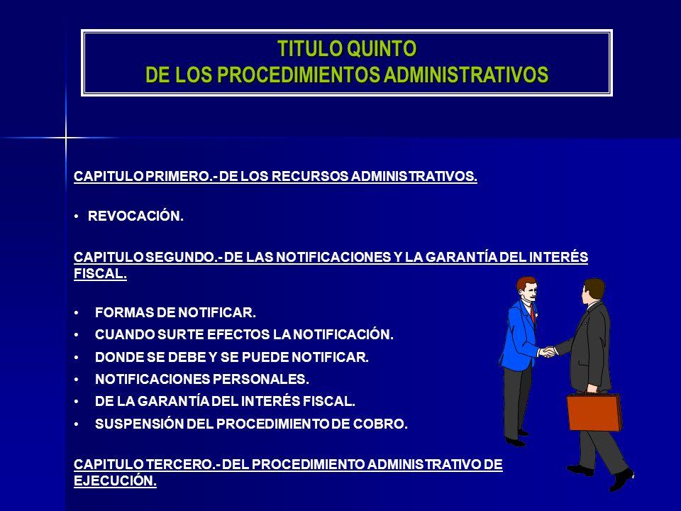 TITULO QUINTO DE LOS PROCEDIMIENTOS ADMINISTRATIVOS