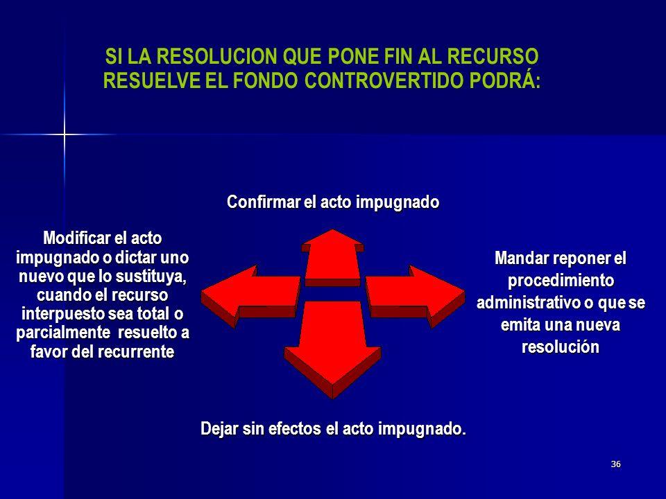 Confirmar el acto impugnado Dejar sin efectos el acto impugnado.