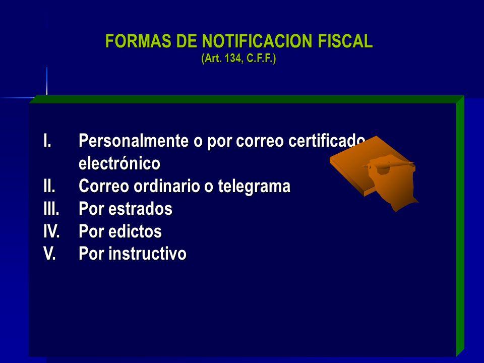 FORMAS DE NOTIFICACION FISCAL (Art. 134, C.F.F.)