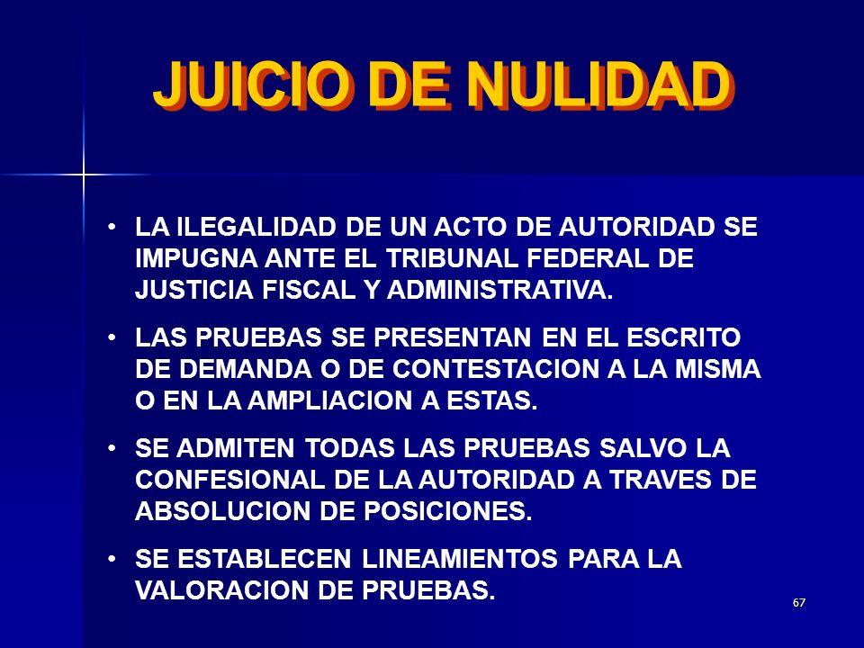 JUICIO DE NULIDAD LA ILEGALIDAD DE UN ACTO DE AUTORIDAD SE IMPUGNA ANTE EL TRIBUNAL FEDERAL DE JUSTICIA FISCAL Y ADMINISTRATIVA.
