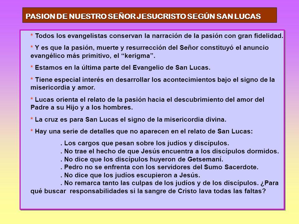 PASION DE NUESTRO SEÑOR JESUCRISTO SEGÚN SAN LUCAS