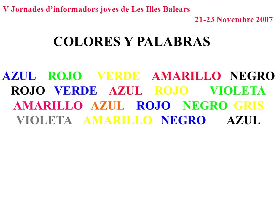 COLORES Y PALABRAS AZUL ROJO VERDE AMARILLO NEGRO