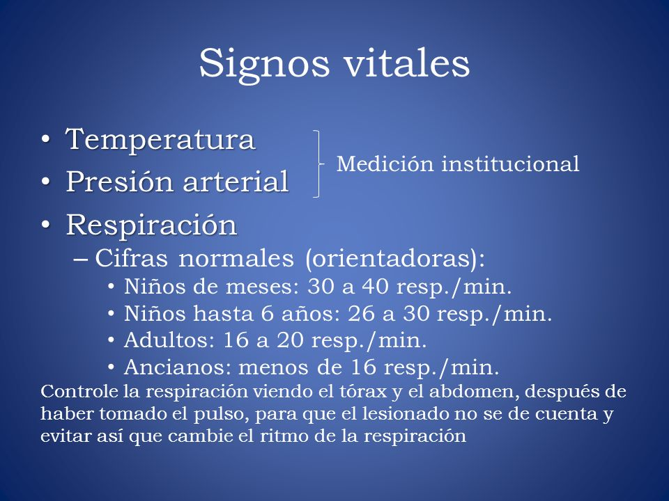 Signos vitales Temperatura Presión arterial Respiración