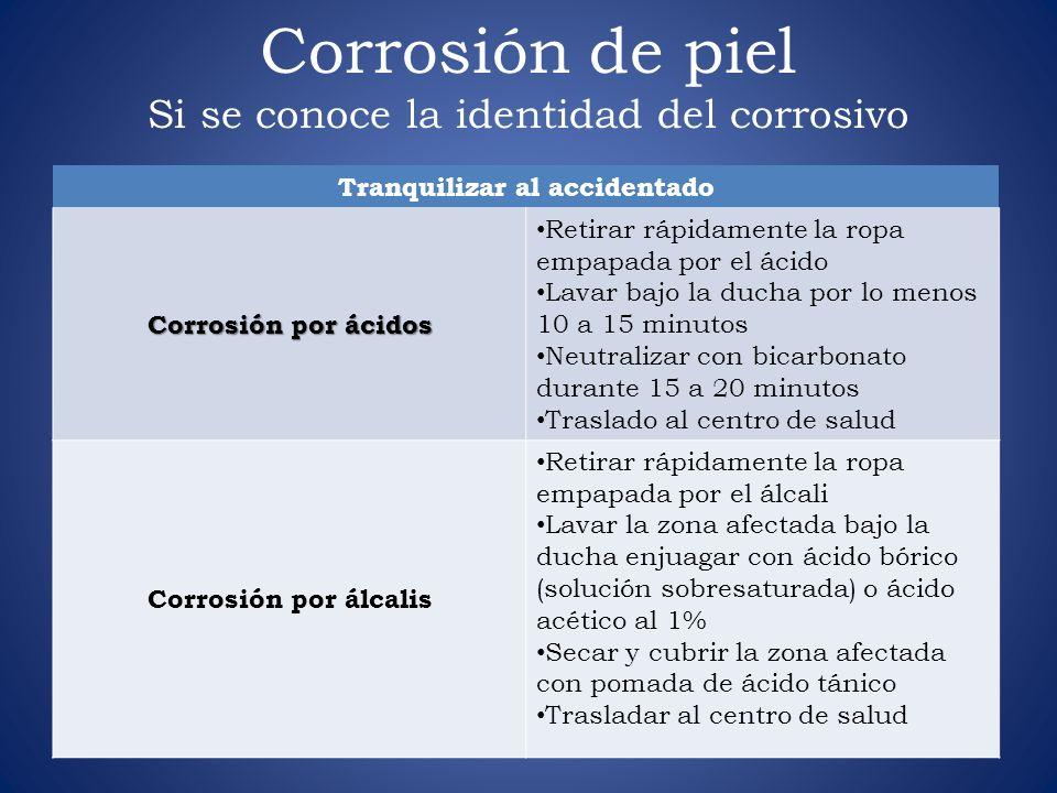 Corrosión de piel Si se conoce la identidad del corrosivo