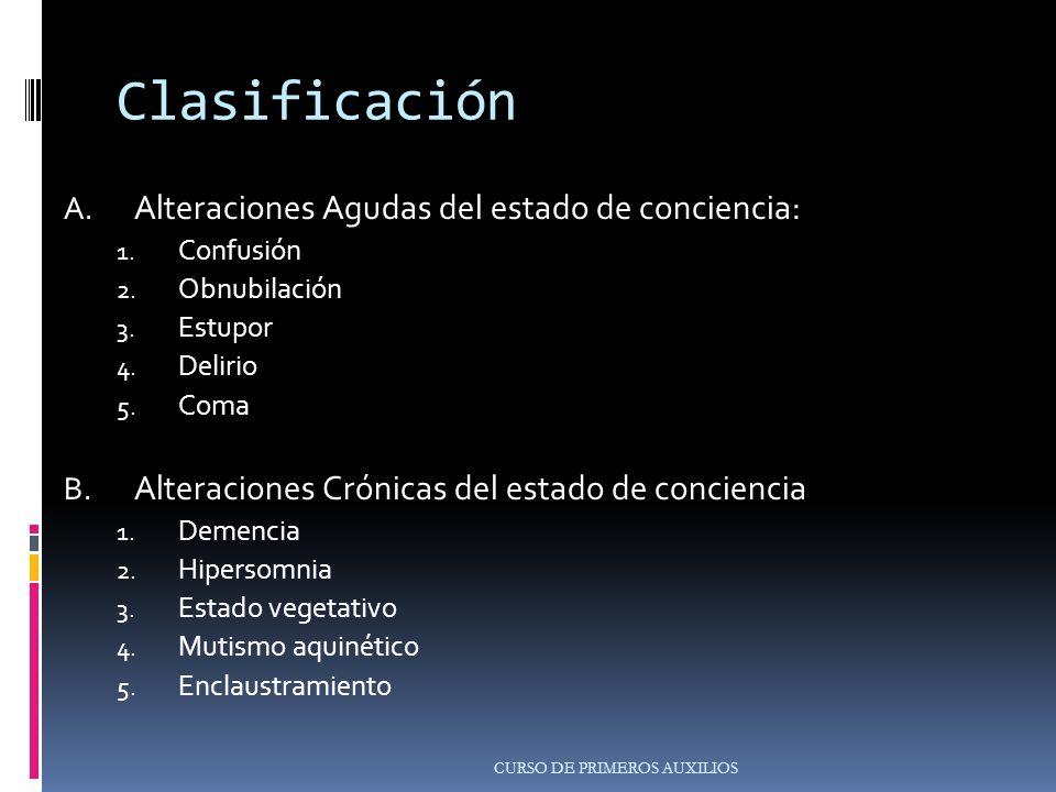 Clasificación Alteraciones Agudas del estado de conciencia: