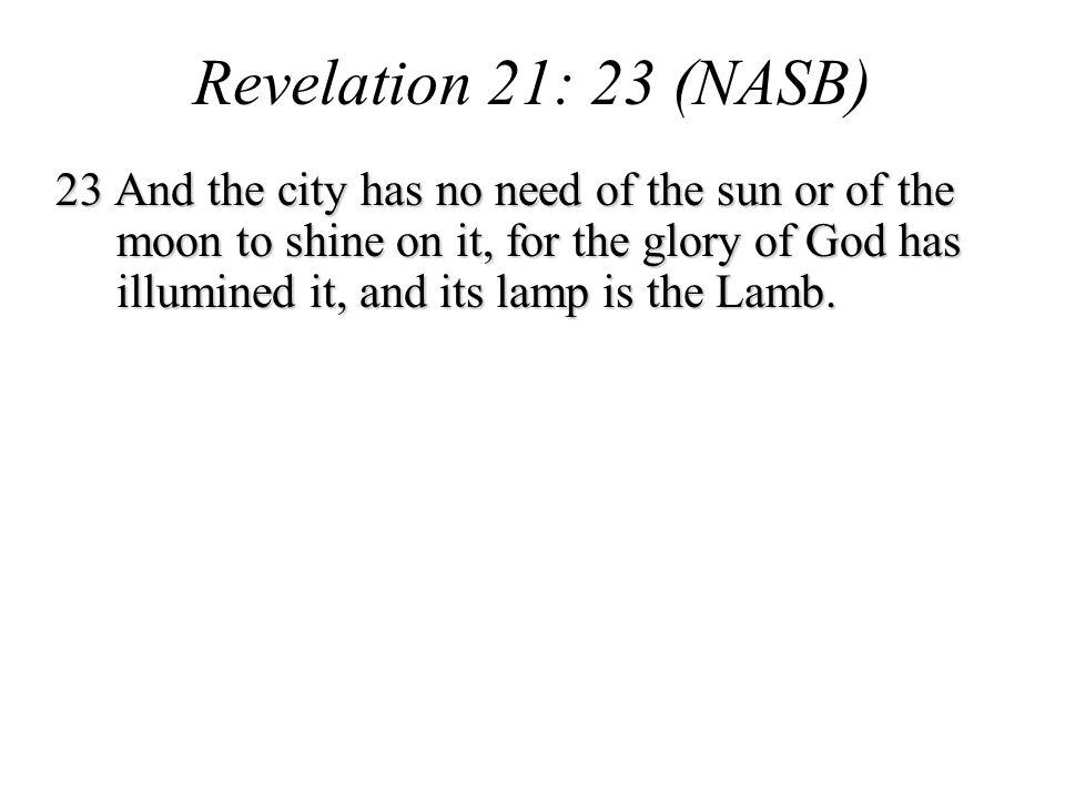 Revelation 21: 23 (NASB)