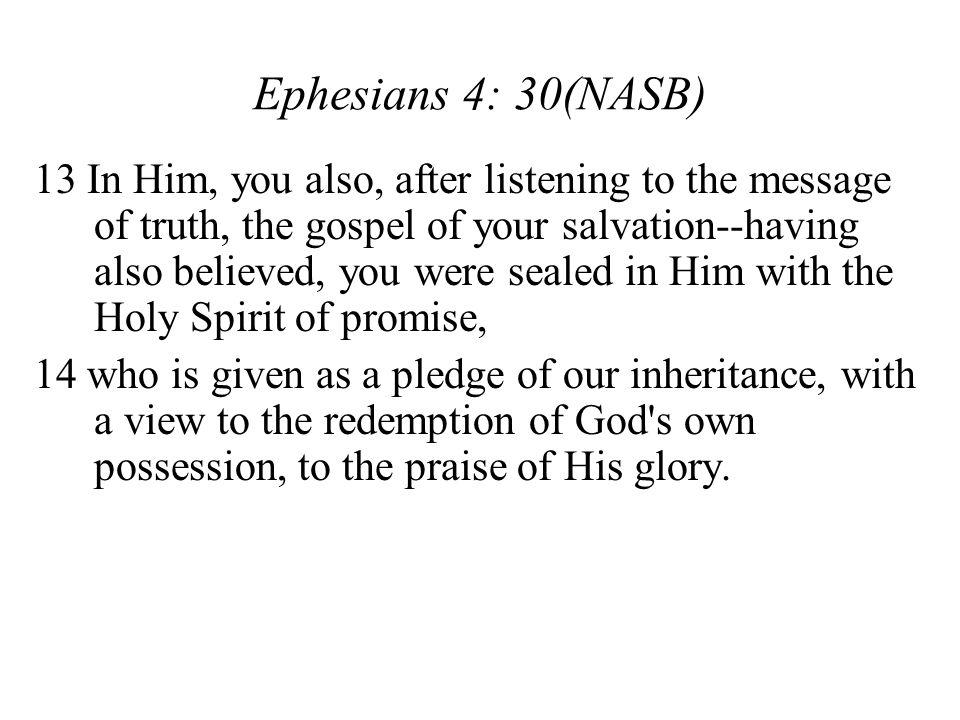 Ephesians 4: 30(NASB)