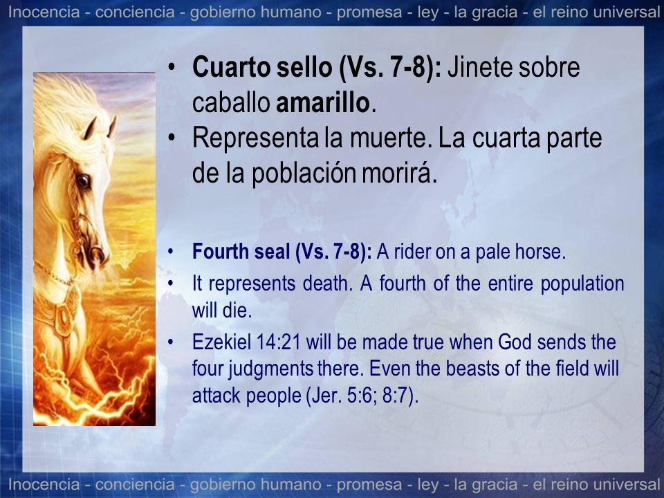 Cuarto sello (Vs. 7-8): Jinete sobre caballo amarillo.