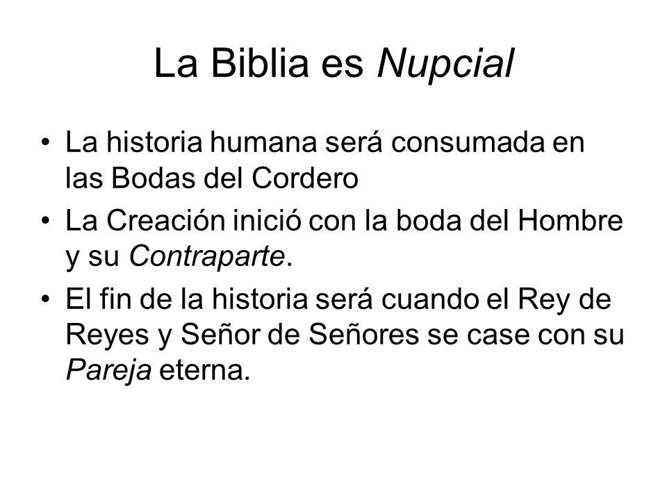 La Biblia es Nupcial La historia humana será consumada en las Bodas del Cordero. La Creación inició con la boda del Hombre y su Contraparte.